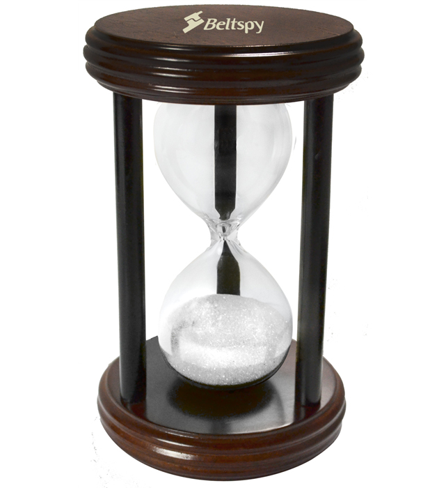 Minute sand timer in matte rosewood finish