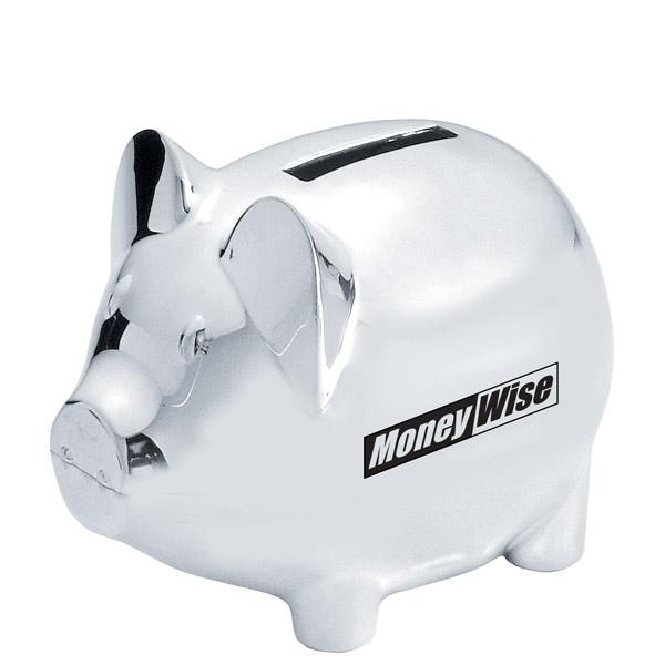 Large image - Engraved silver piggy bank ...