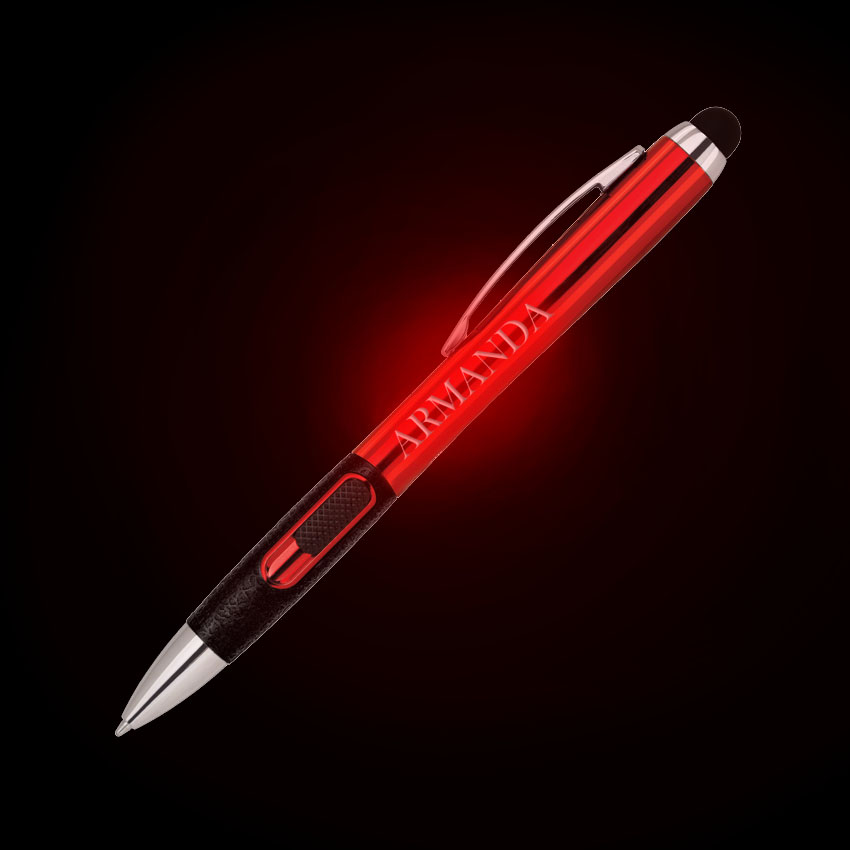 COLORED LIGHT UP LOGO L.E.D. BALLPOINT PEN W/ STYLUS