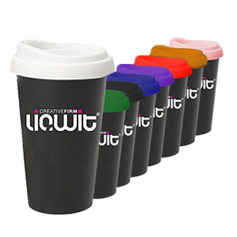 14 OZ DOUBLE WALL CERAMIC TUMBLER WITH SILICONE LID- MADE IN USA