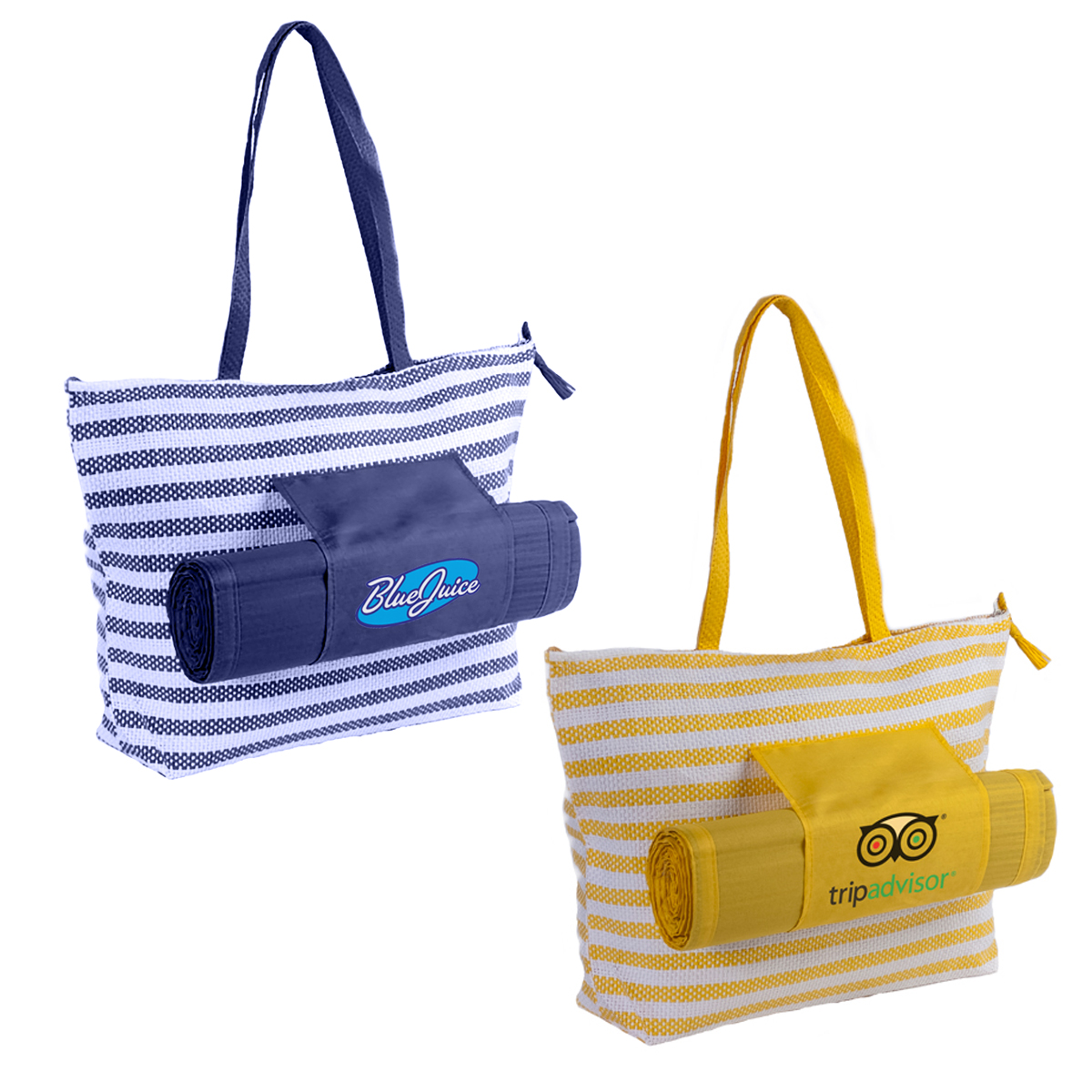 STRIPED BEACH TOTE SET WITH MAT