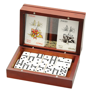 WOODEN BOX DOMINO SET